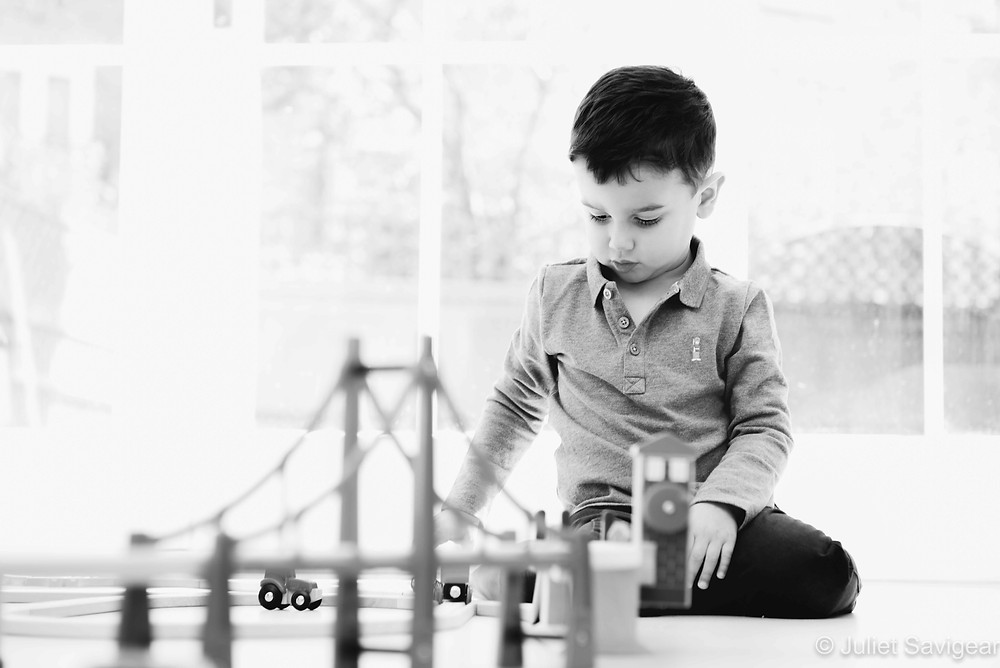 A boy and his train set