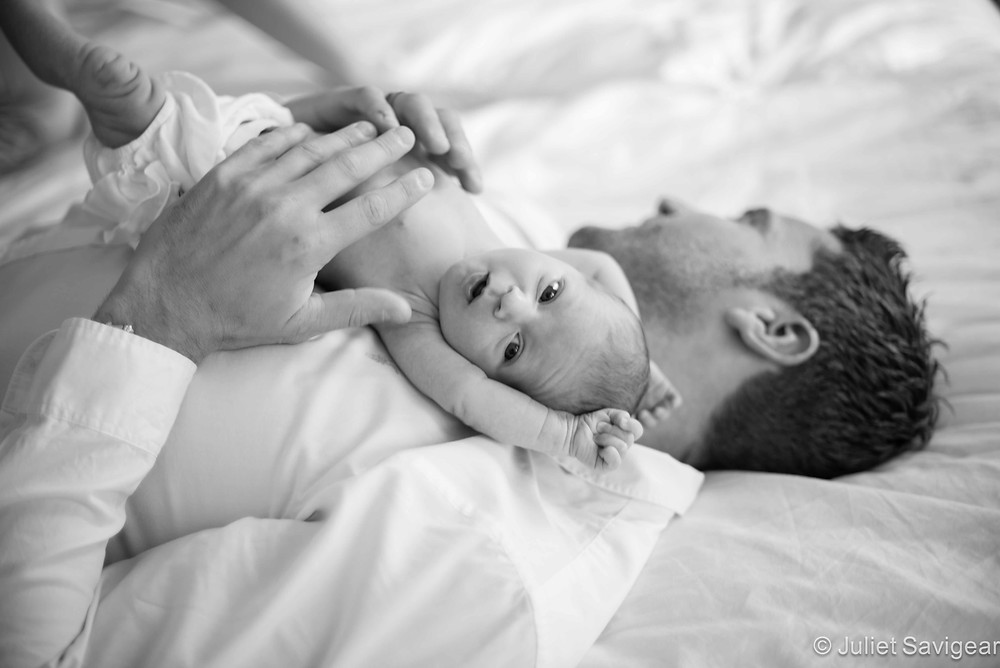 Newborn Photography - playing with daddy