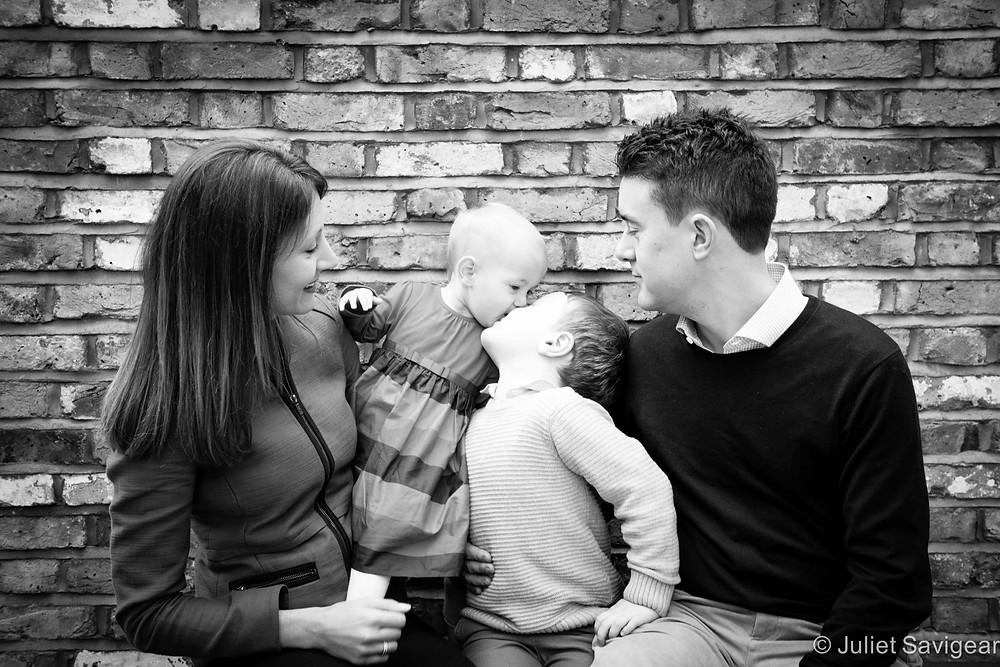Family Portrait & Kisses - Children's Photography, Clapham