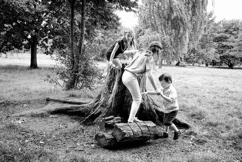 Children around tree stump