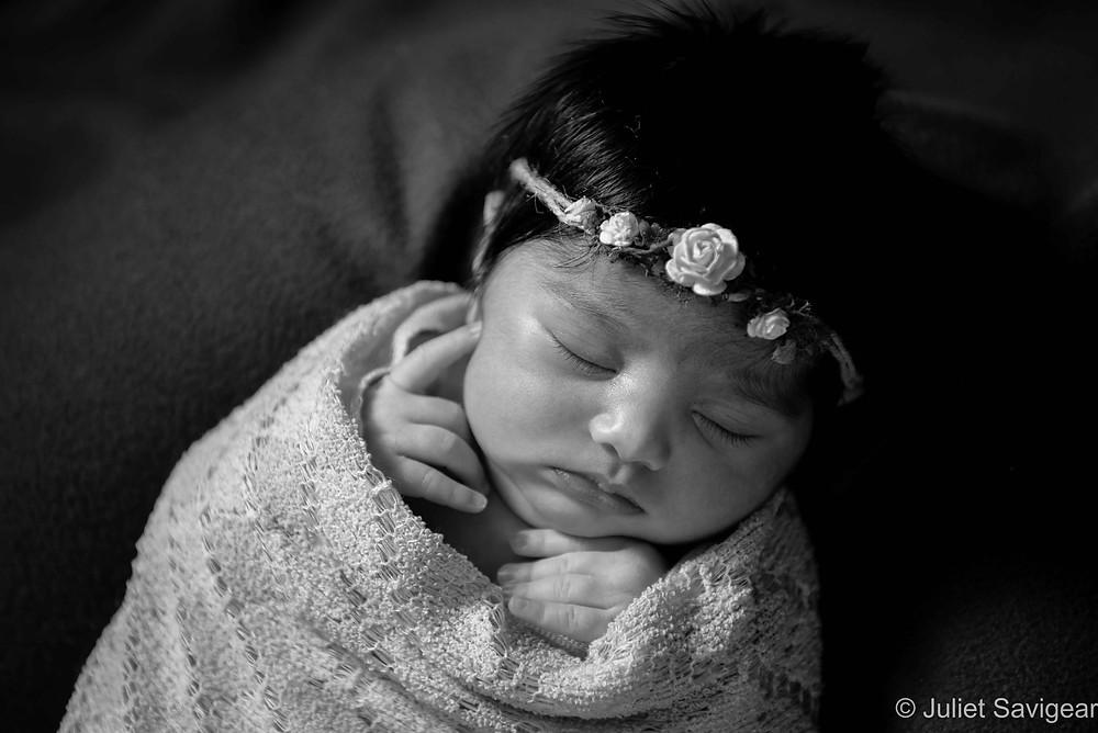 Baby girl with flower headband
