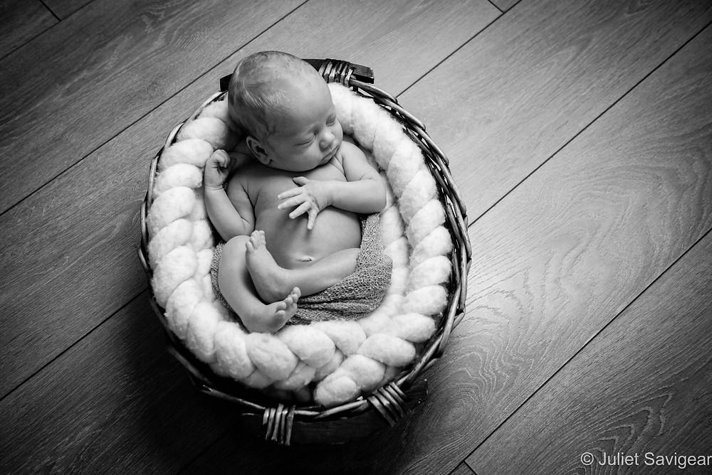 Newborn baby boy in basket