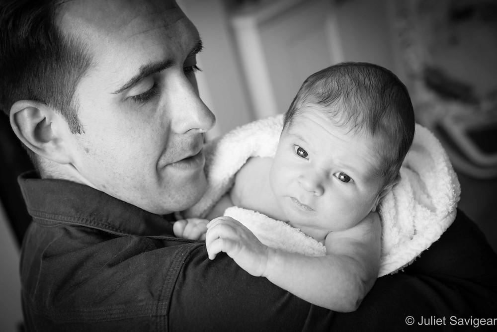 Daddy's Shoulder - Newborn Baby Photographer, Earlsfield