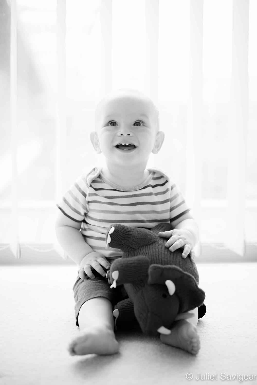Baby boy with cuddly dinosaur