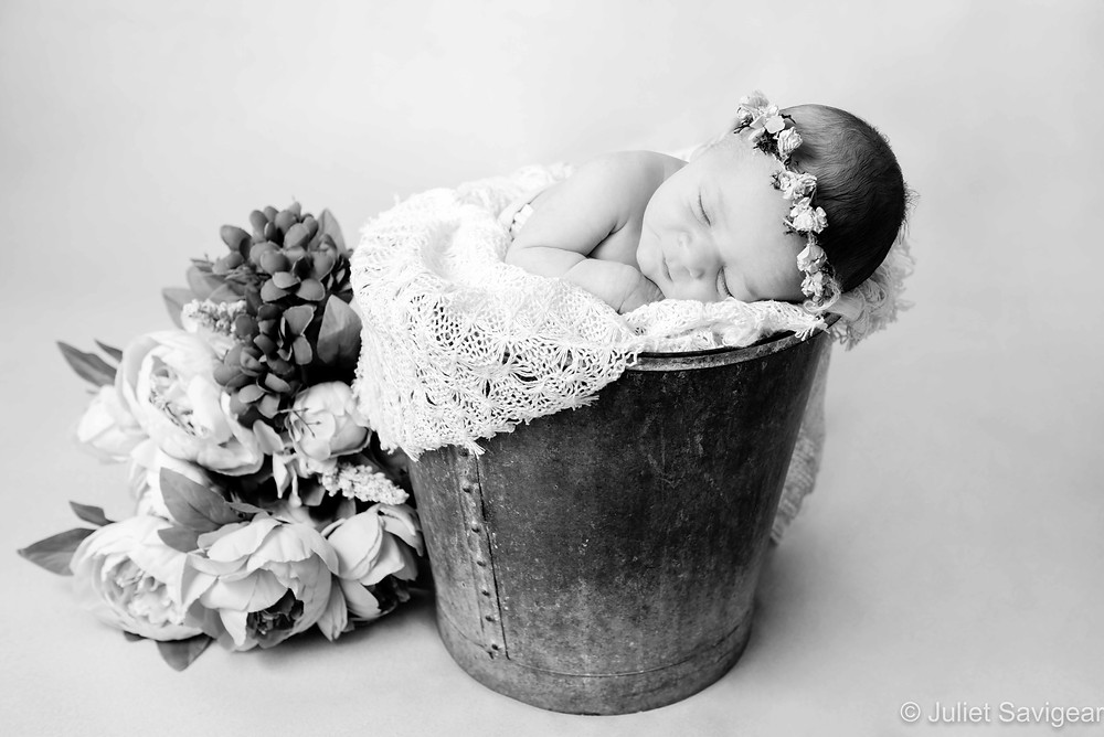 Newborn baby in a bucket with flowers