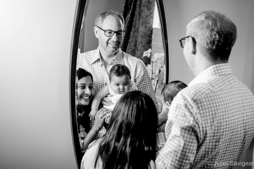 Family portrait in the mirror