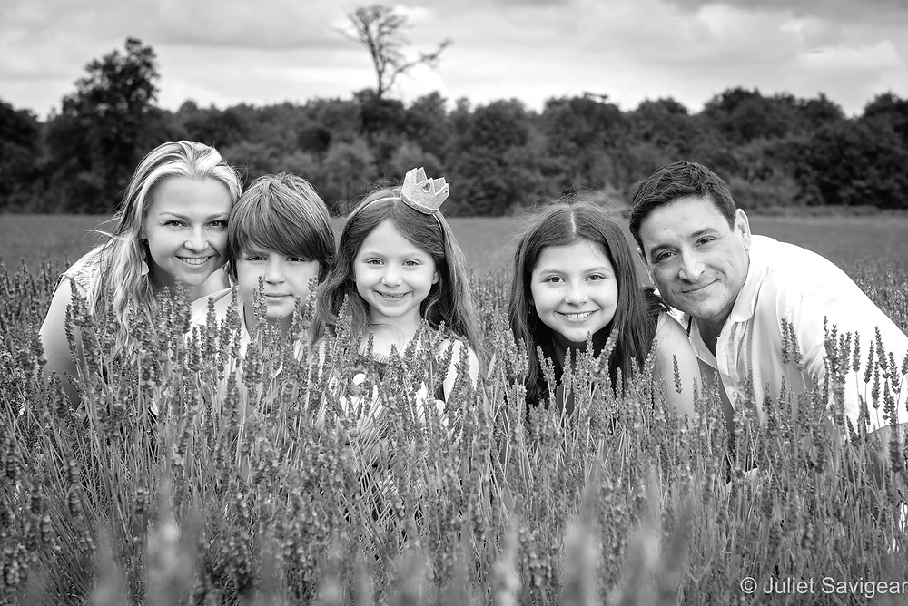 Family in the lavender fields