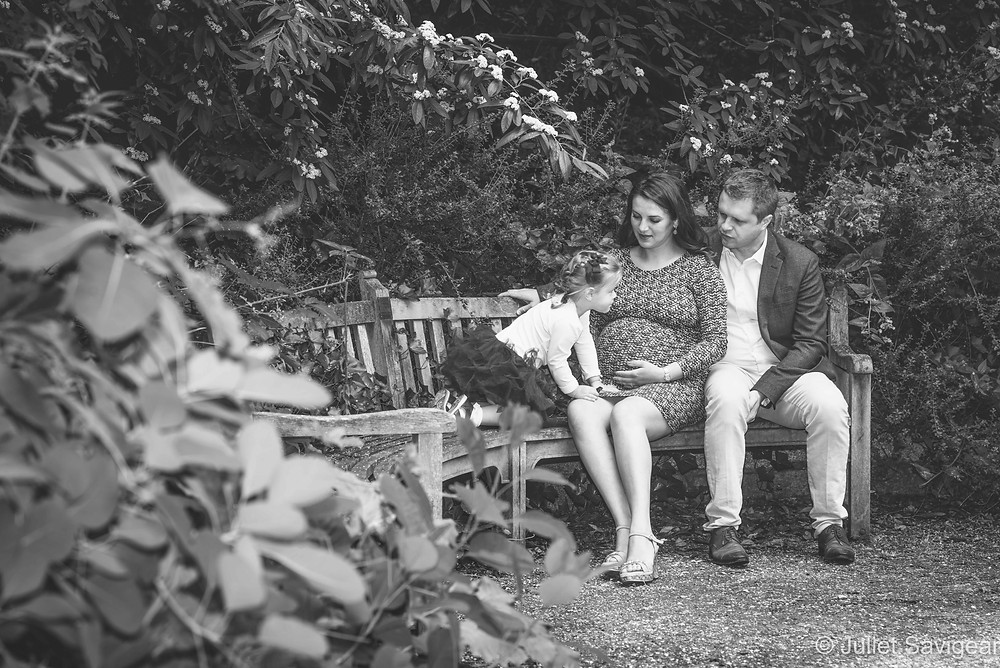 Family on the park bench