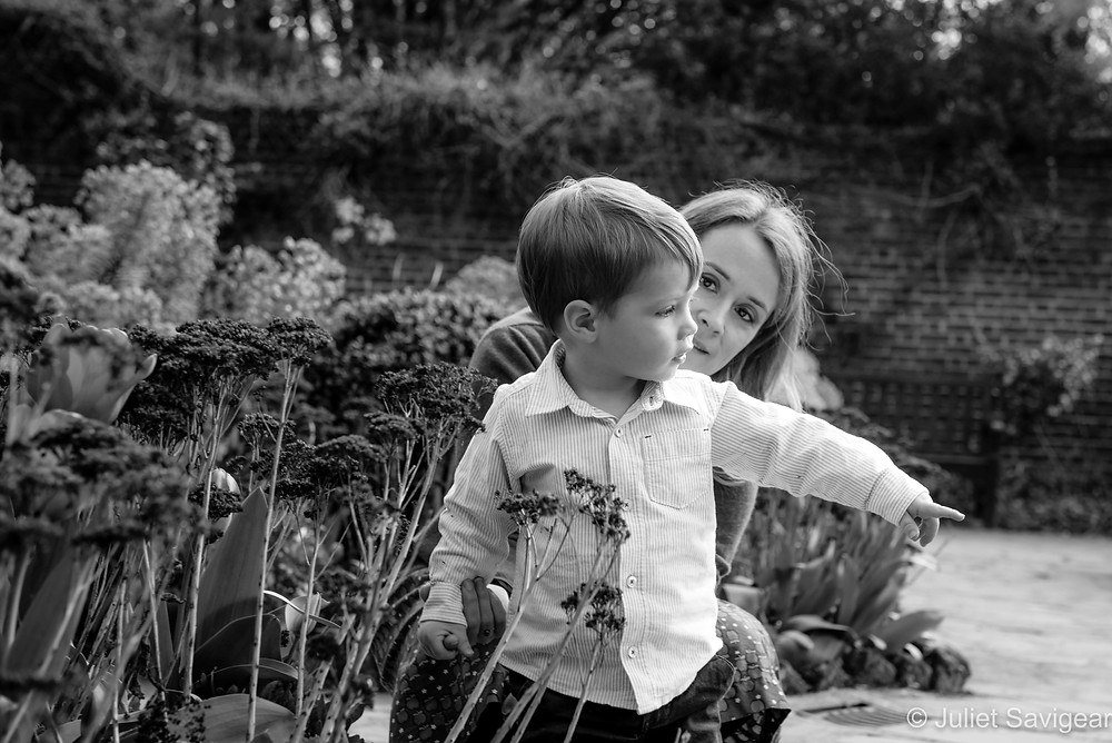 Mother & son in the garden