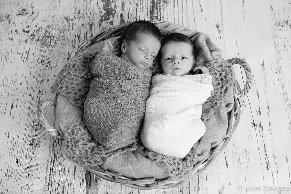 Twins In A Basket - Newborn Baby Photography - Mitcham, Surrey