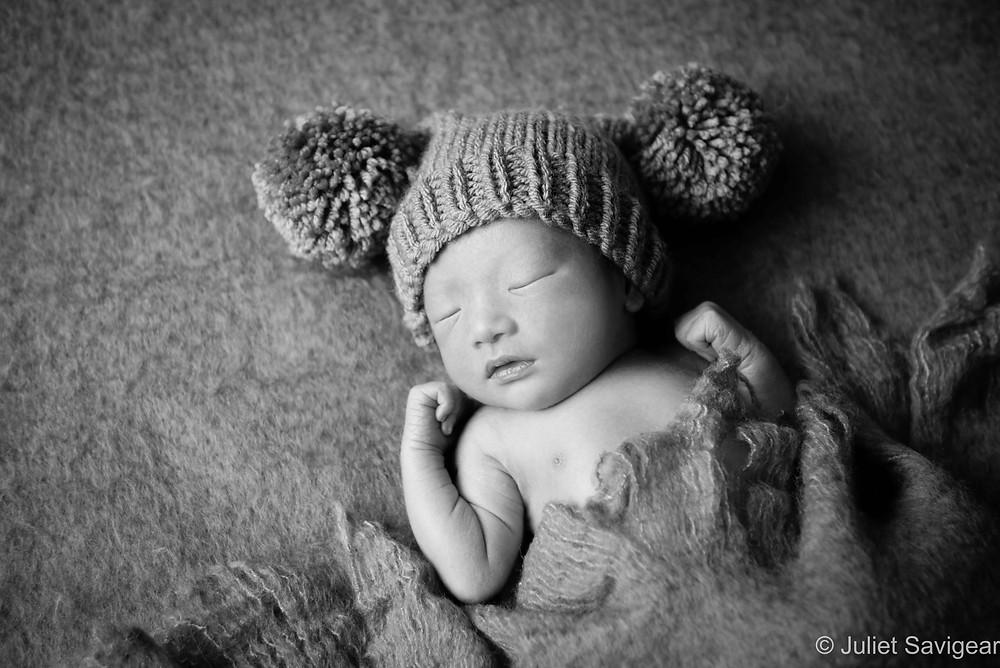 Newborn Baby In Pom Pom Hat - Newborn Baby Photography, Victoria, London