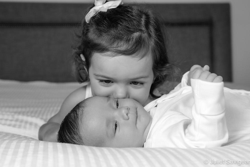 Big sister's kiss makes me happy