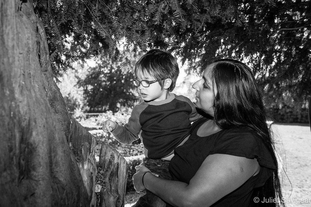 Mother & son exploring tree