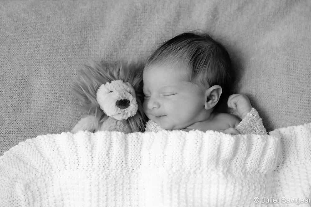Newborn baby with cuddly lion