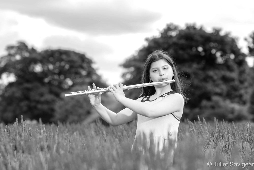 Playing the flute in the lavender fields