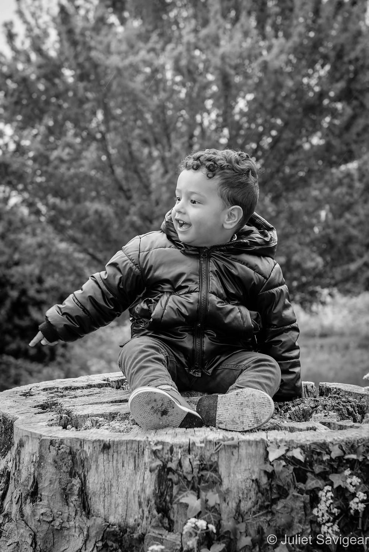 Boy on tree stump