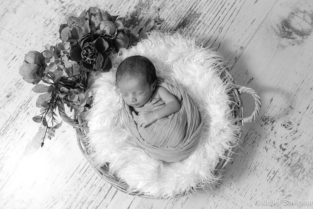 Baby in floral basket