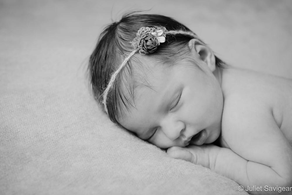 Close up on newborn baby