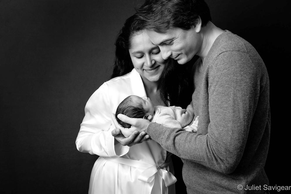 Family portrait with newborn baby