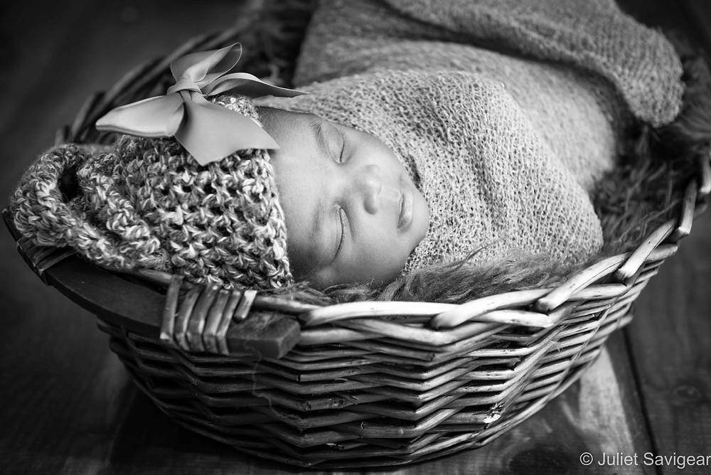 Baby Girl In Basket - Newborn Baby Photographer, Streatham