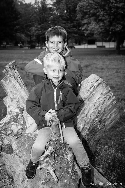 Brothers on tree stump