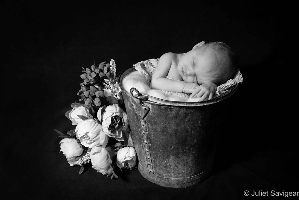 Newborn baby girl sleeping in bucket