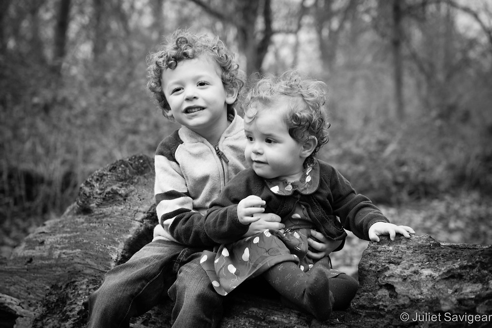 Brother & Sister On Log - Children's Photography, Wimbledon