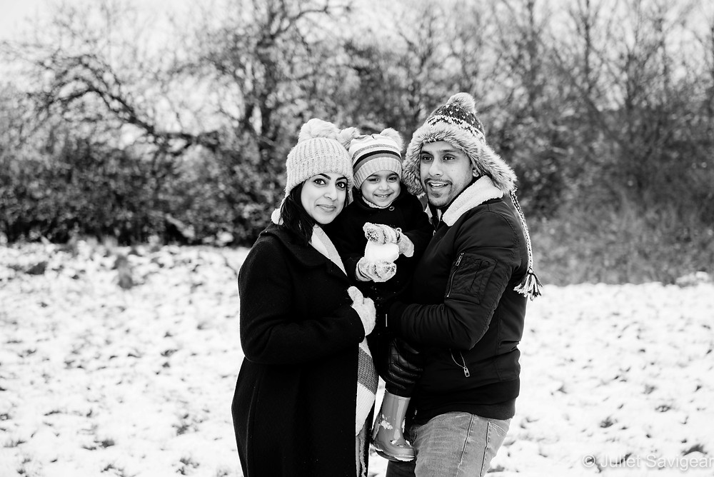 Family portrait in the snow