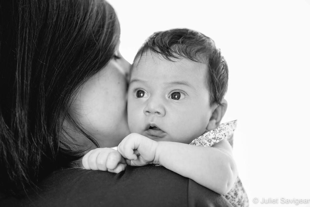 On mummy's shoulder