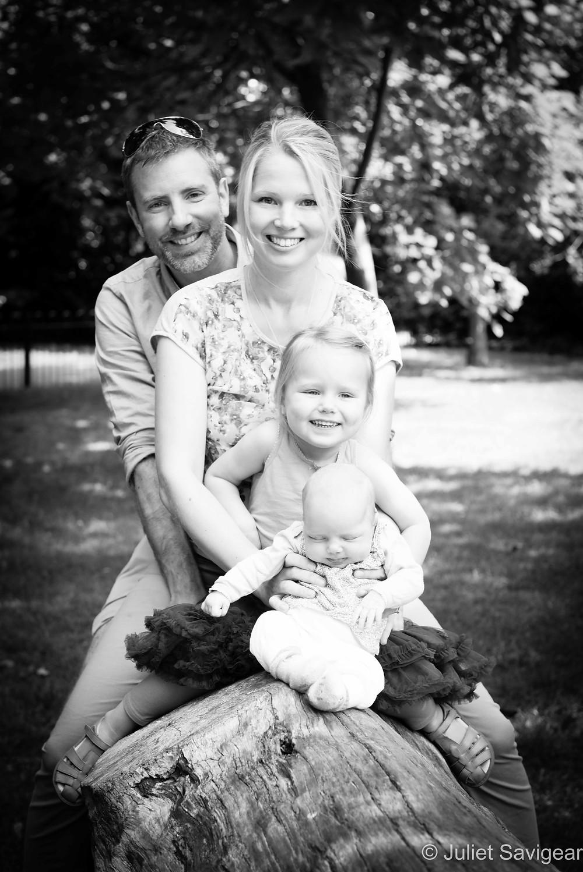 Family Portrait On Log - Family Photography, Peckham Rye Park