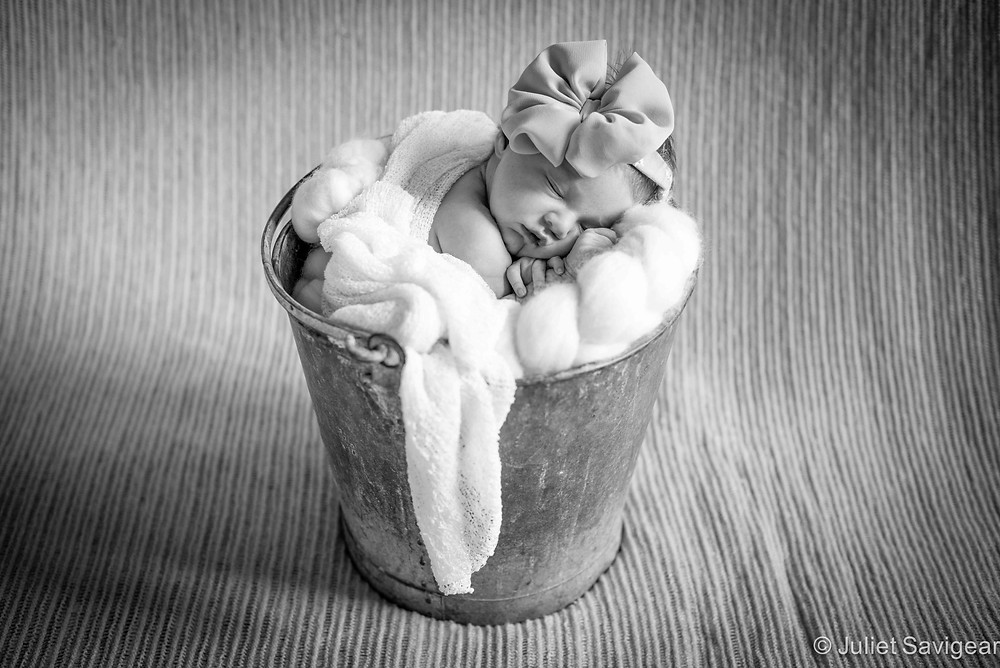 Newborn Baby In A Bucket - Baby Photography, Clapham South