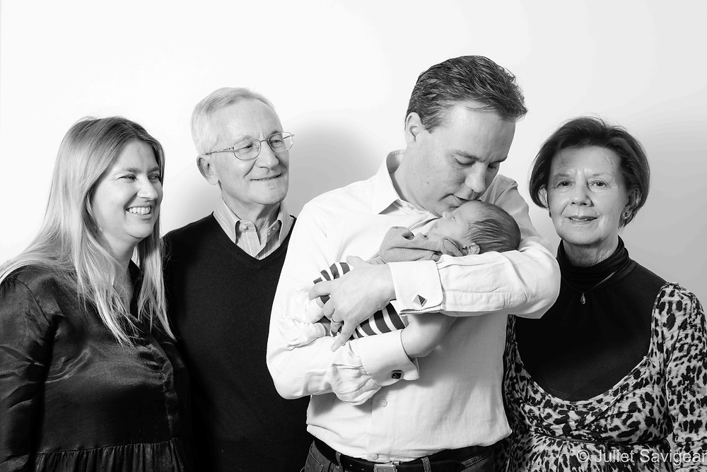 Family group with newborn baby