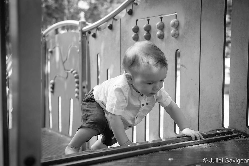 Baby exploring