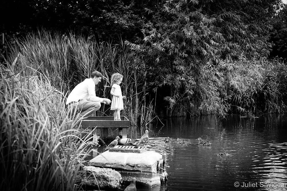 Feeding the ducks on Clapham Common