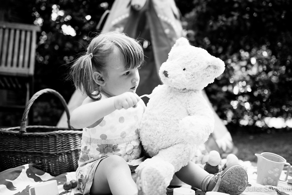 Feeding Teddy - Children's Photography, Putney