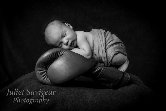Newborn Baby Photo Shoot With Boxing Theme - Balham