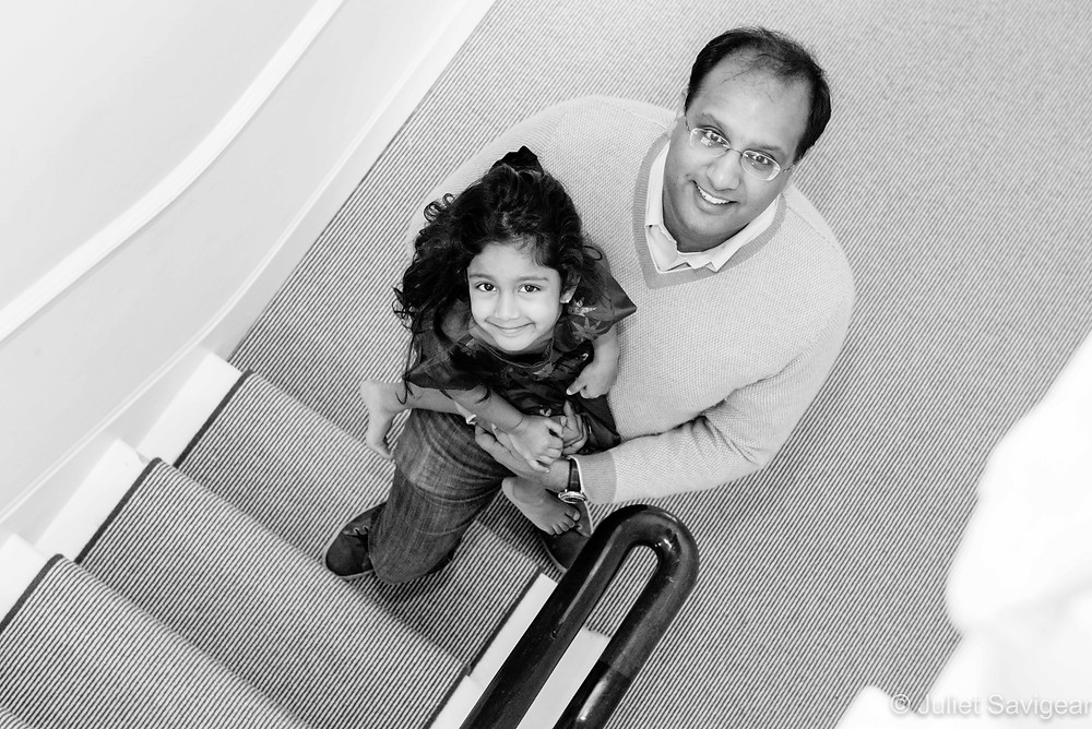 Father & daughter on the stairwell