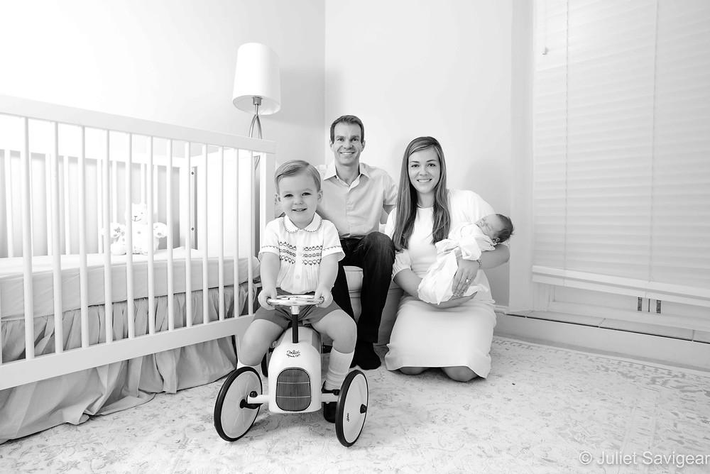 Family in nursery