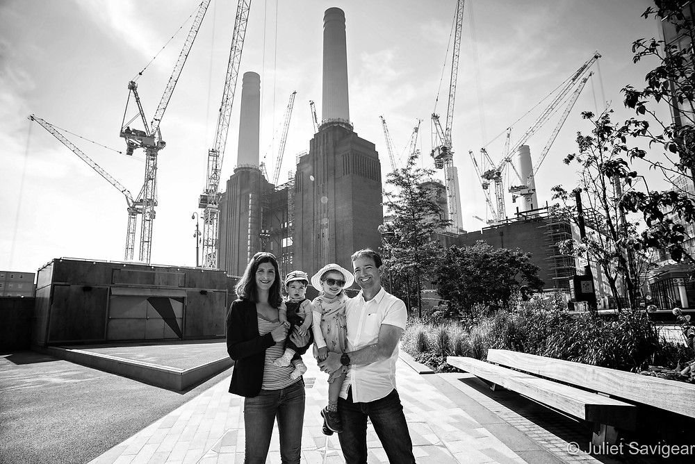 Family photo by Battersea Power Station