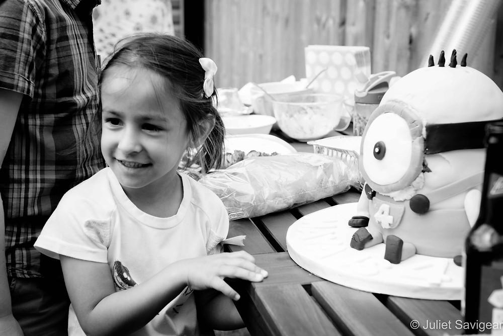 Birthday girl with cake