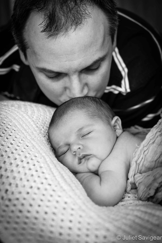 Daddy's Kisses - Newborn Baby Photography, Carshalton