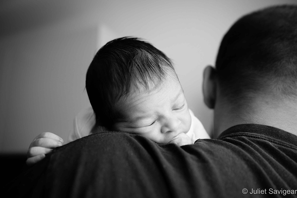 Over The Shoulder - Newborn Baby Photography, Clapham