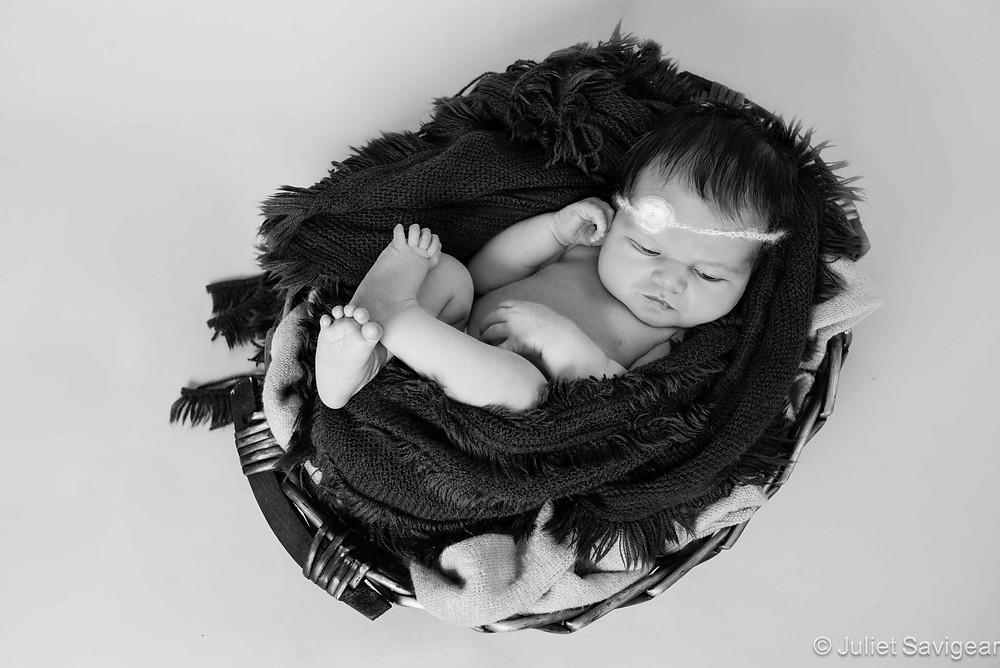 Lying In A Basket - Newborn Baby Photography, Clapham