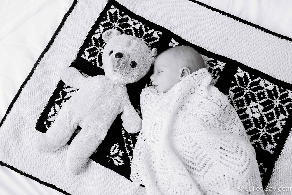Newborn Baby With Old Teddy
