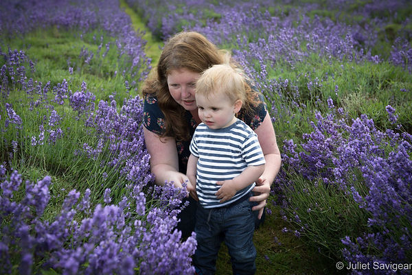 Mother & Son Among Lavender Flowers
