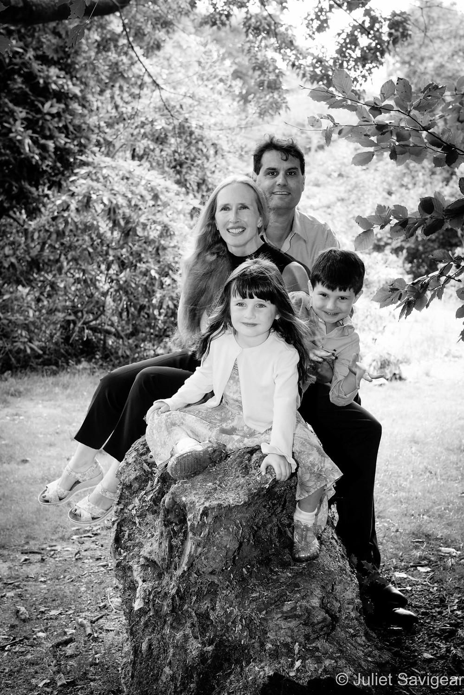 Family photo on a log