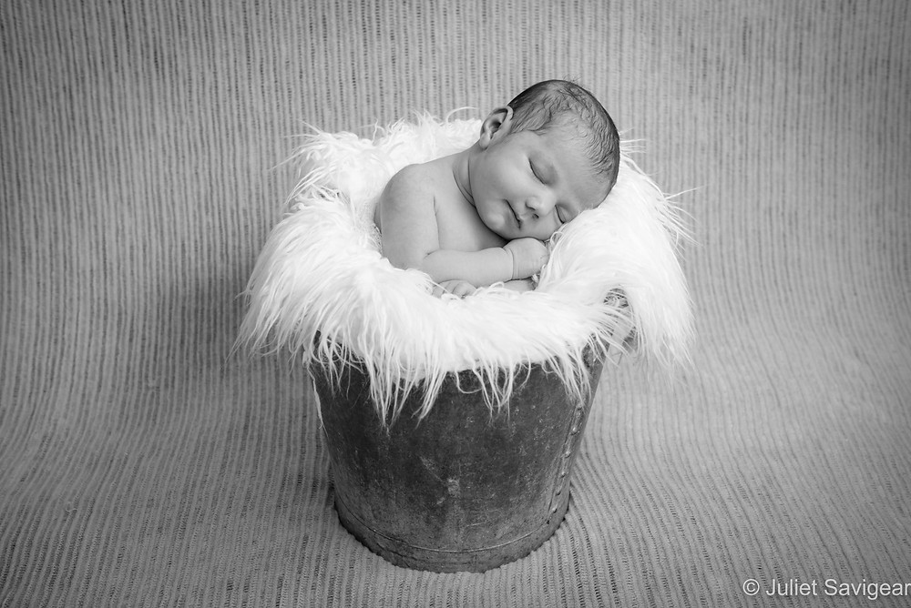 Newborn baby in a bucket