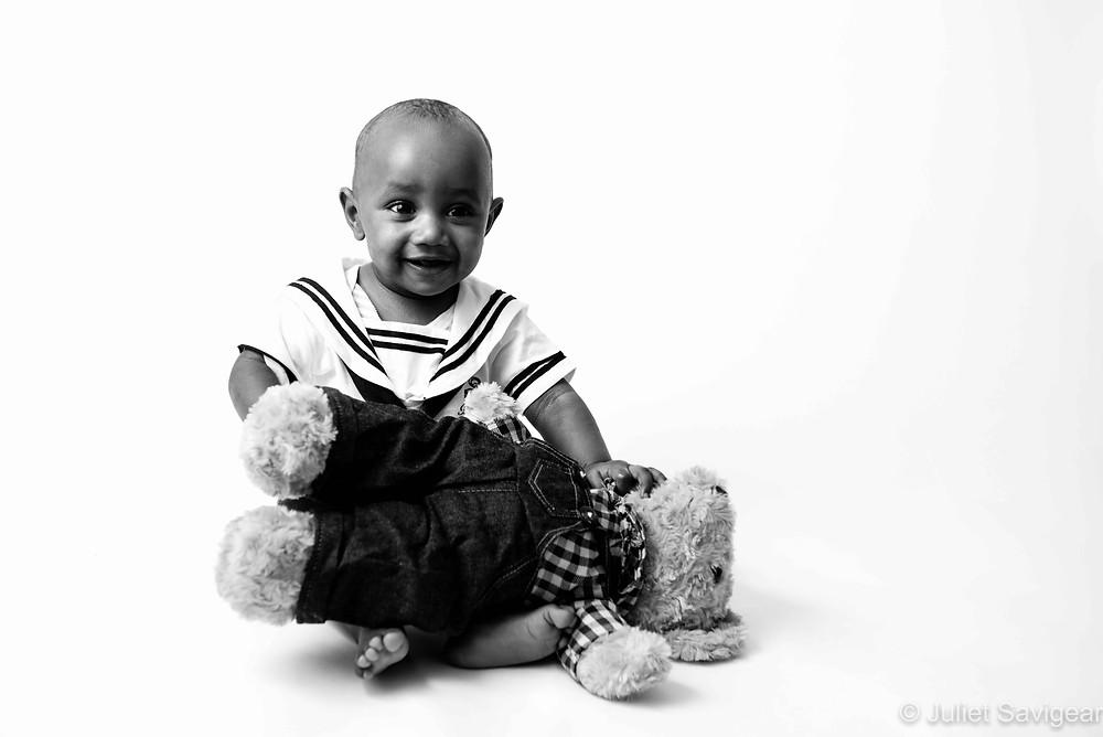 Sailor baby with teddy
