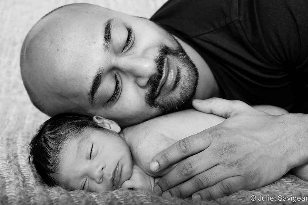 Cuddling His Baby Son - Newborn Baby & Family Photography, Furzedown, SW16