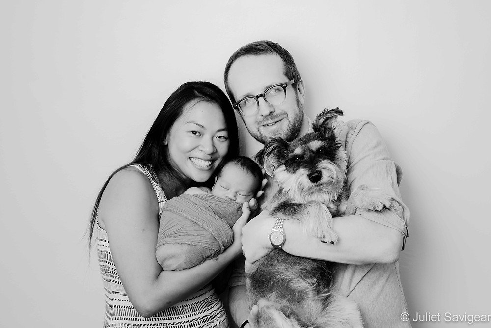Family portrait with newborn baby & dog